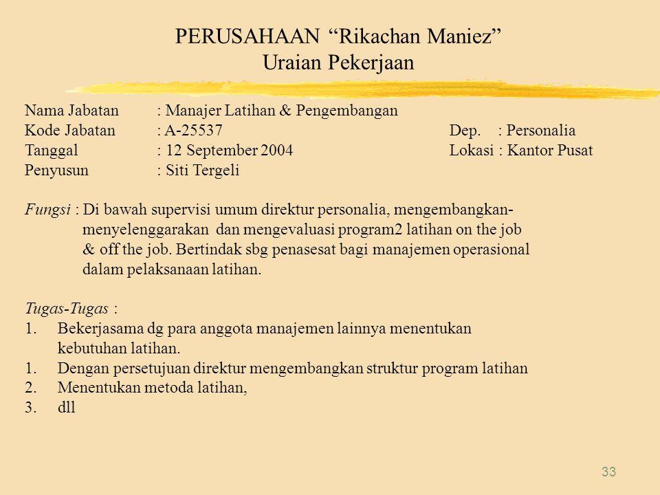 PERUSAHAAN Rikachan Maniez