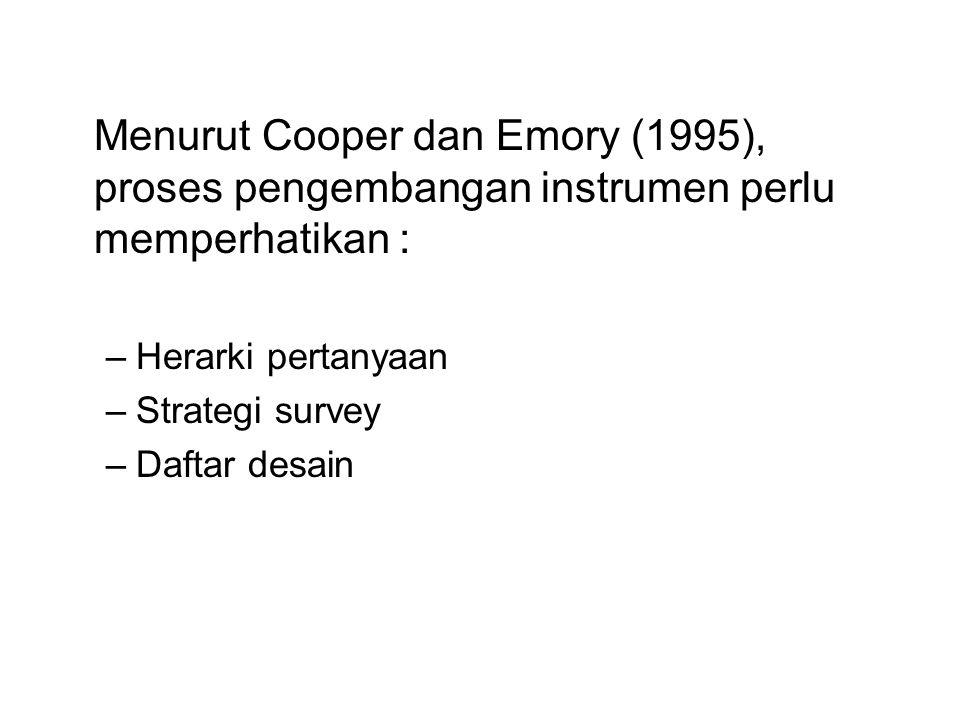 Menurut Cooper dan Emory (1995), proses pengembangan instrumen perlu memperhatikan :