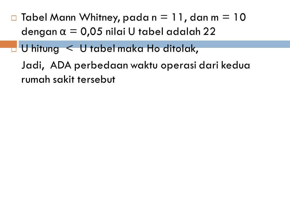 Tabel Mann Whitney, pada n = 11, dan m = 10 dengan α = 0,05 nilai U tabel adalah 22