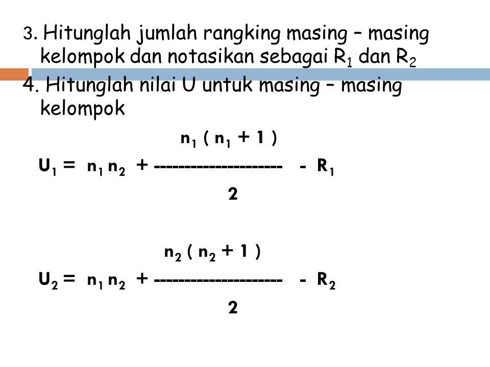 3. Hitunglah jumlah rangking masing – masing kelompok dan notasikan sebagai R1 dan R2 4.
