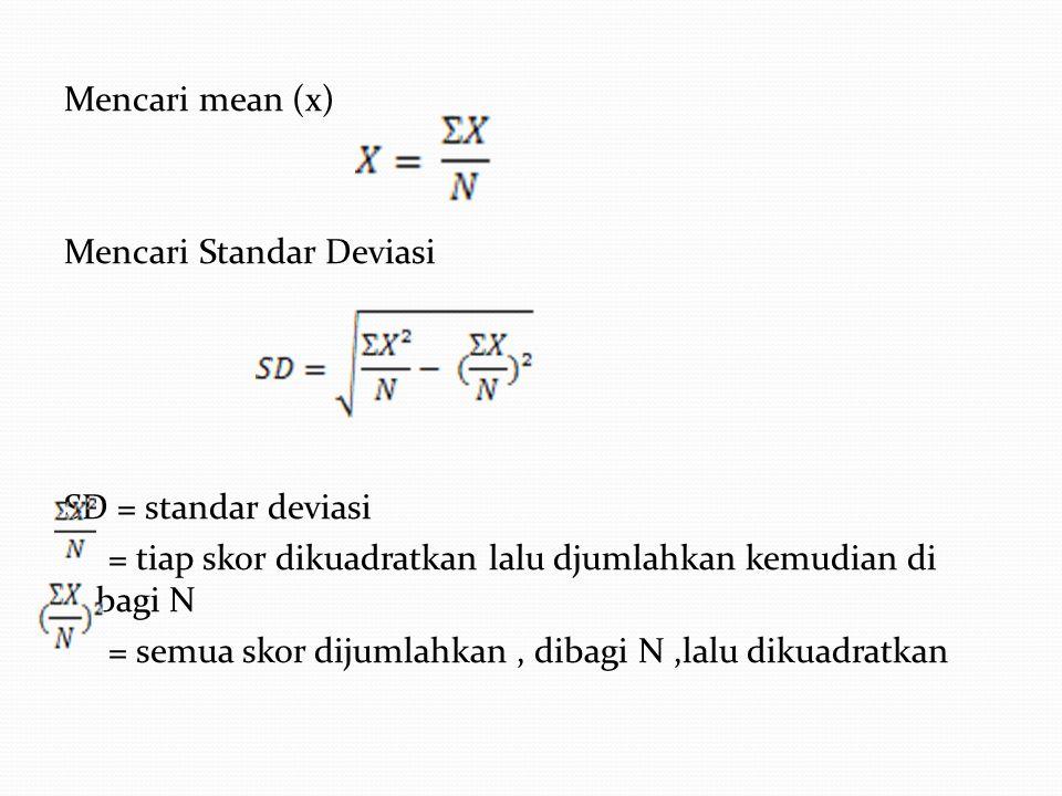 Mencari mean (x) Mencari Standar Deviasi SD = standar deviasi = tiap skor dikuadratkan lalu djumlahkan kemudian di bagi N = semua skor dijumlahkan , dibagi N ,lalu dikuadratkan