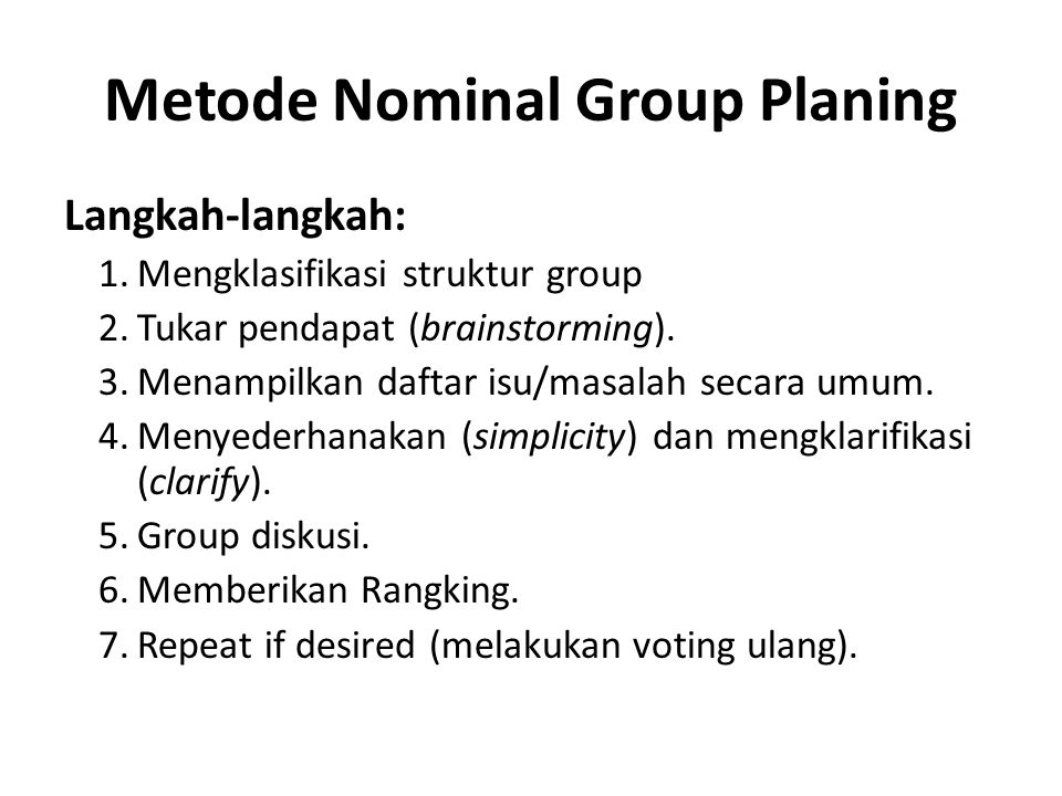 Metode Nominal Group Planing