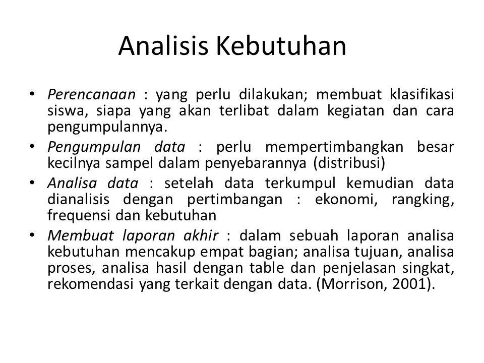 Analisis Kebutuhan Perencanaan : yang perlu dilakukan; membuat klasifikasi siswa, siapa yang akan terlibat dalam kegiatan dan cara pengumpulannya.