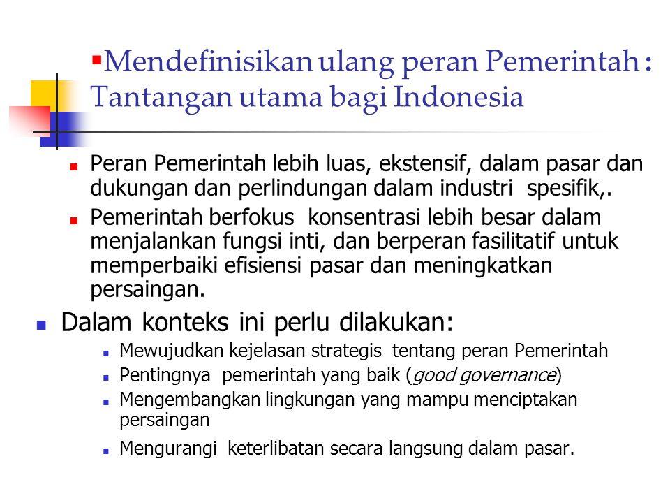 Mendefinisikan ulang peran Pemerintah : Tantangan utama bagi Indonesia