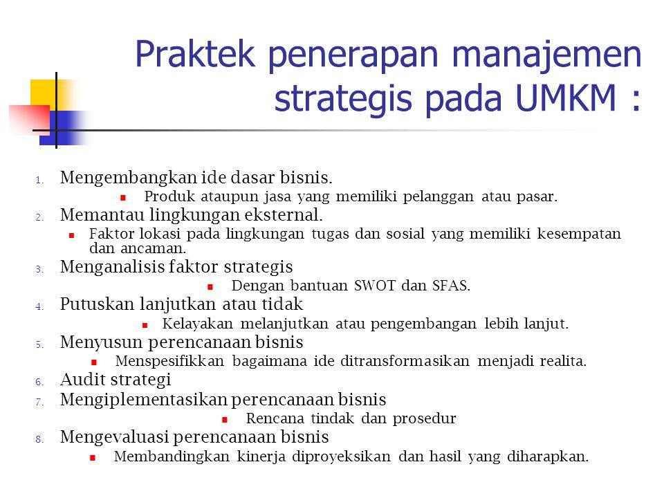 Praktek penerapan manajemen strategis pada UMKM :
