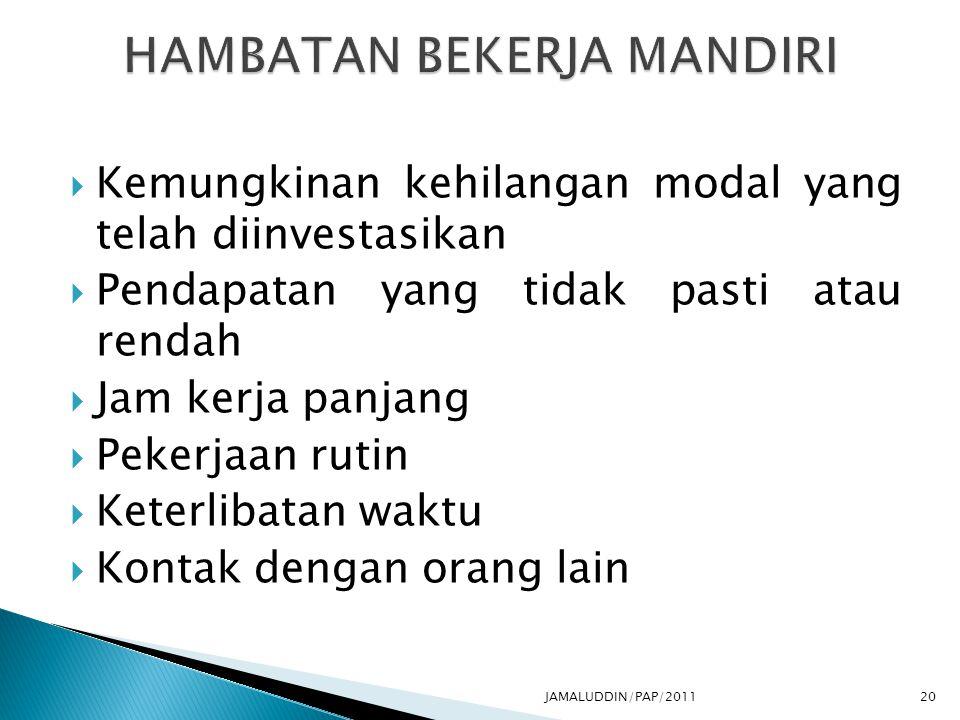 HAMBATAN BEKERJA MANDIRI