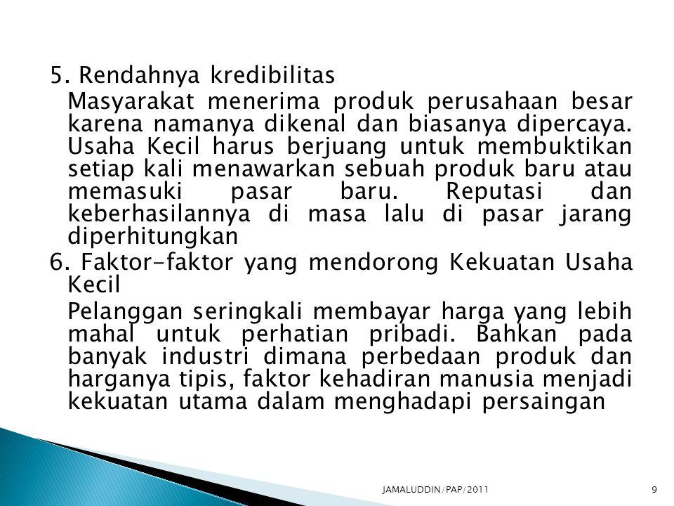 5. Rendahnya kredibilitas