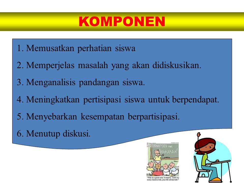 KOMPONEN 1. Memusatkan perhatian siswa