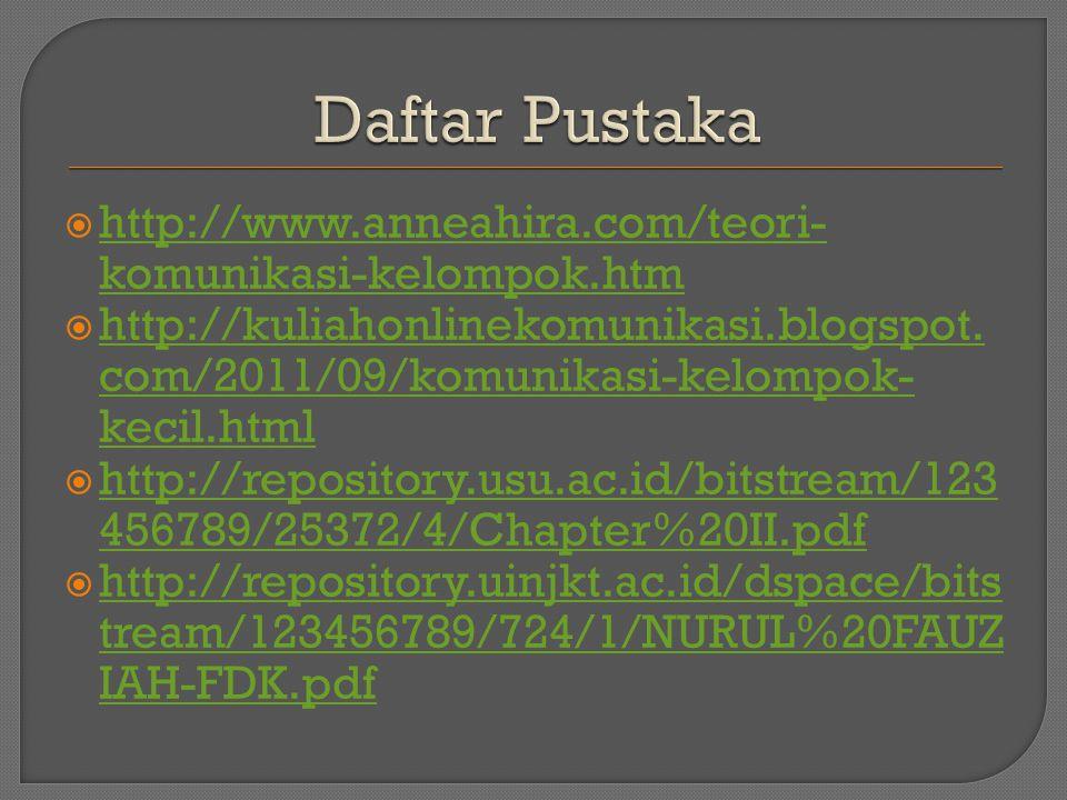 Daftar Pustaka http://www.anneahira.com/teori-komunikasi-kelompok.htm