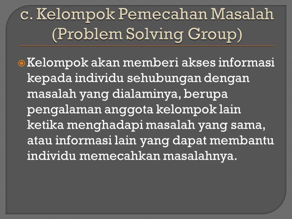 c. Kelompok Pemecahan Masalah (Problem Solving Group)