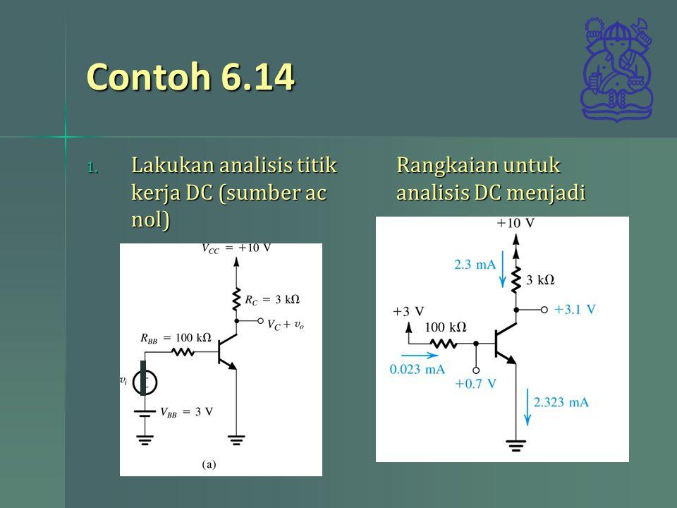 Contoh 6.14 Lakukan analisis titik kerja DC (sumber ac nol)