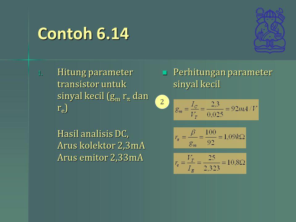 Contoh 6.14 Hitung parameter transistor untuk sinyal kecil (gm rp dan re) Hasil analisis DC, Arus kolektor 2,3mA Arus emitor 2,33mA.