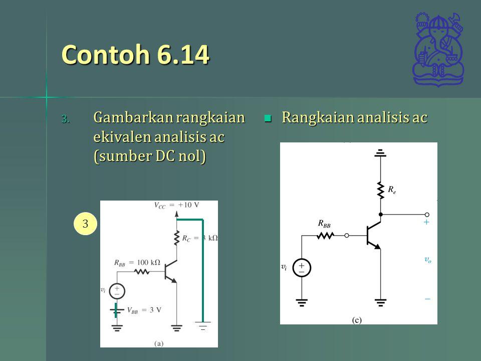 Contoh 6.14 Gambarkan rangkaian ekivalen analisis ac (sumber DC nol)