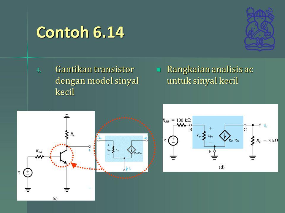 Contoh 6.14 Gantikan transistor dengan model sinyal kecil