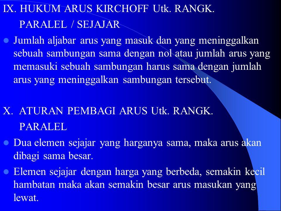 IX. HUKUM ARUS KIRCHOFF Utk. RANGK.