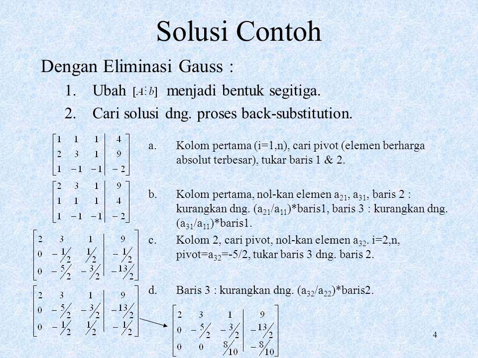 Solusi Contoh Dengan Eliminasi Gauss : Ubah menjadi bentuk segitiga.