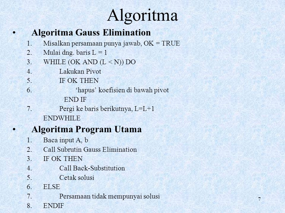 Algoritma Algoritma Gauss Elimination Algoritma Program Utama