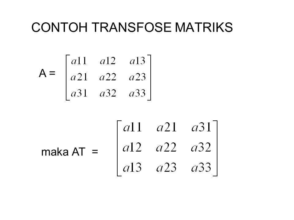 CONTOH TRANSFOSE MATRIKS