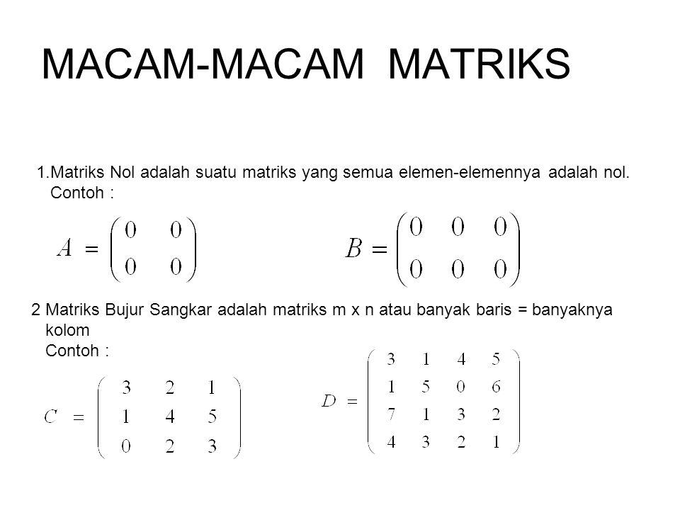 MACAM-MACAM MATRIKS Matriks Nol adalah suatu matriks yang semua elemen-elemennya adalah nol. Contoh :