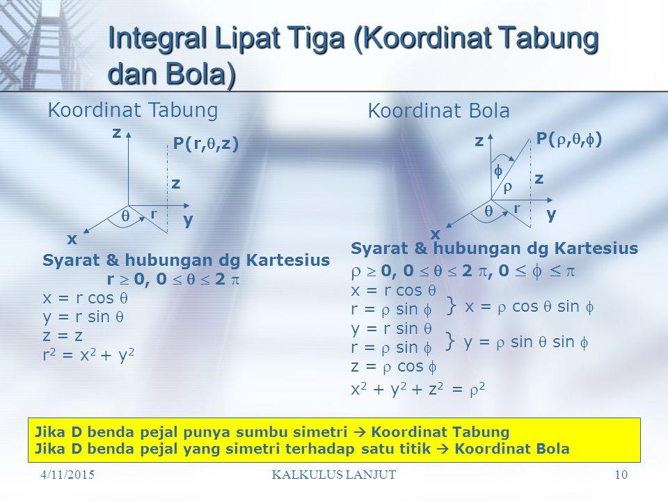 Integral Lipat Tiga (Koordinat Tabung dan Bola)