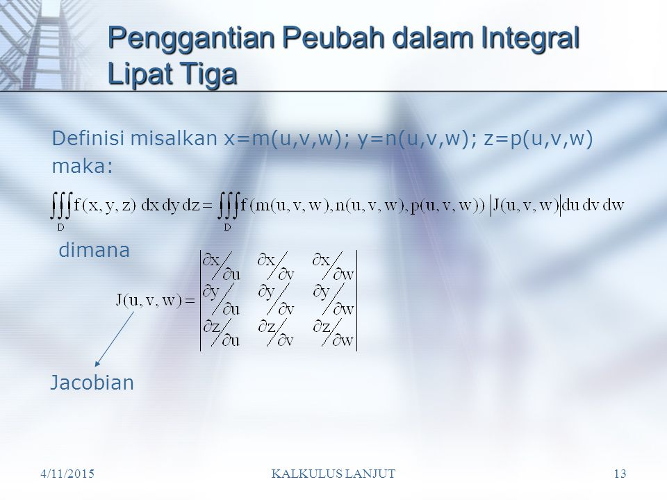 Penggantian Peubah dalam Integral Lipat Tiga
