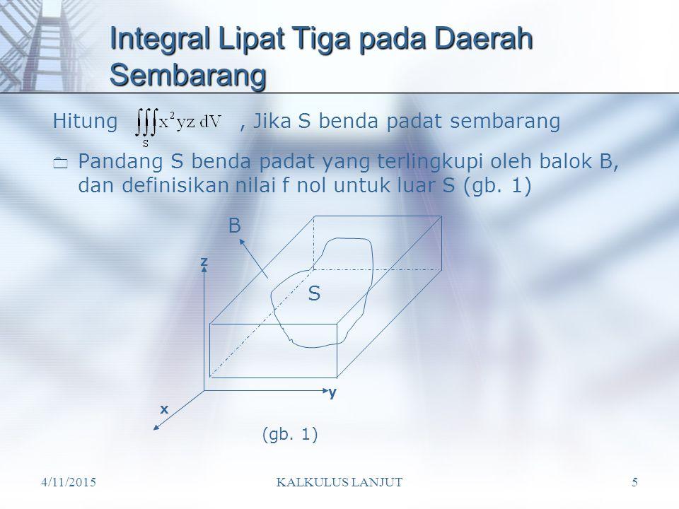 Integral Lipat Tiga pada Daerah Sembarang