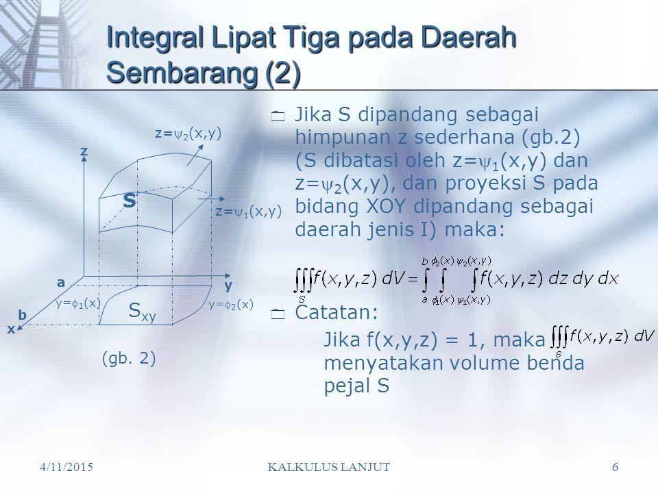 Integral Lipat Tiga pada Daerah Sembarang (2)