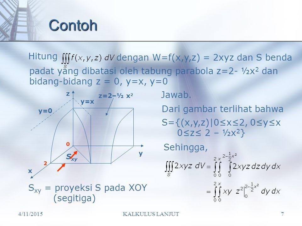 Contoh Hitung dengan W=f(x,y,z) = 2xyz dan S benda
