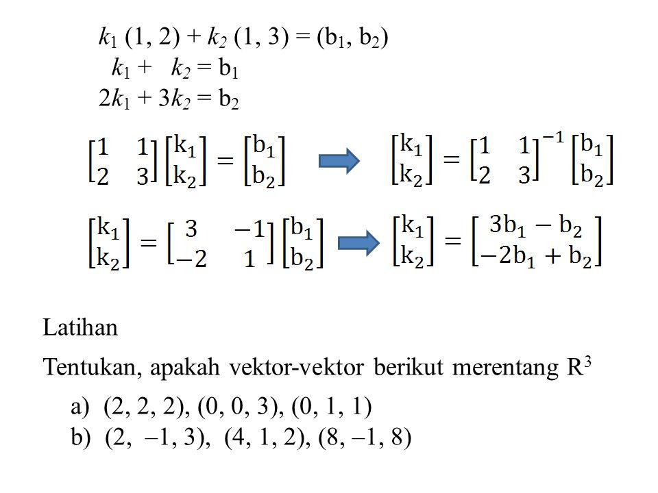 k1 (1, 2) + k2 (1, 3) = (b1, b2) k1 + k2 = b1. 2k1 + 3k2 = b2. Latihan. Tentukan, apakah vektor-vektor berikut merentang R3.