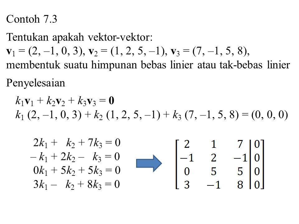 Contoh 7.3 Tentukan apakah vektor-vektor: