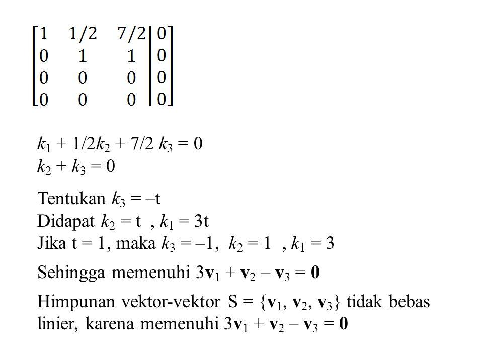 k1 + 1/2k2 + 7/2 k3 = 0 k2 + k3 = 0. Tentukan k3 = –t. Didapat k2 = t , k1 = 3t. Jika t = 1, maka k3 = –1, k2 = 1 , k1 = 3.
