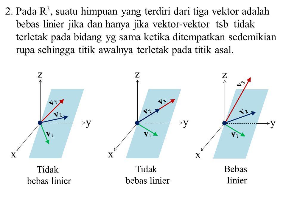 2. Pada R3, suatu himpuan yang terdiri dari tiga vektor adalah bebas linier jika dan hanya jika vektor-vektor tsb tidak terletak pada bidang yg sama ketika ditempatkan sedemikian rupa sehingga titik awalnya terletak pada titik asal.