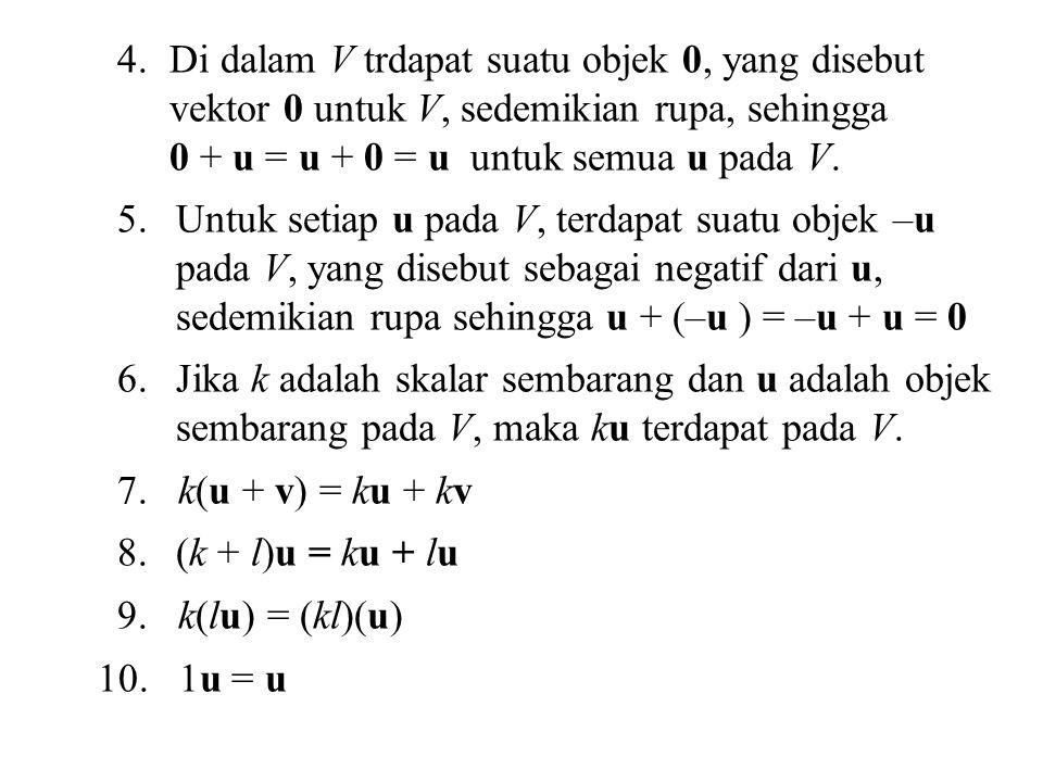 Di dalam V trdapat suatu objek 0, yang disebut vektor 0 untuk V, sedemikian rupa, sehingga