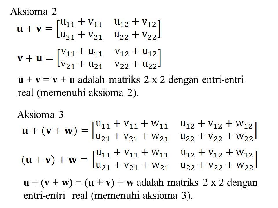 Aksioma 2 u + v = v + u adalah matriks 2 x 2 dengan entri-entri. real (memenuhi aksioma 2). Aksioma 3.