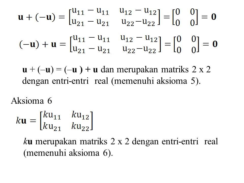 u + (–u) = (–u ) + u dan merupakan matriks 2 x 2