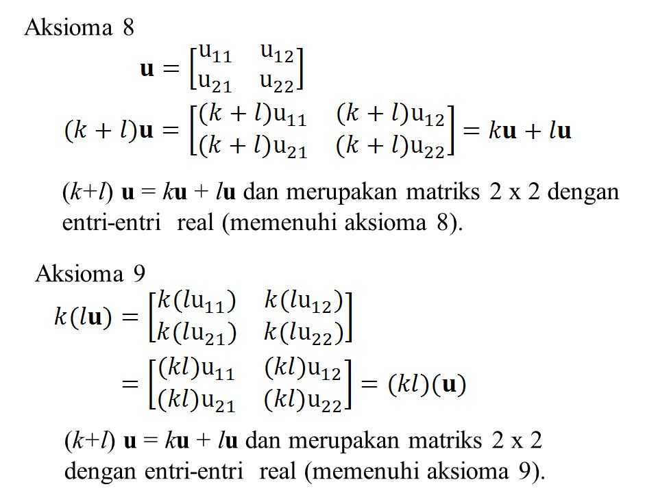Aksioma 8 (k+l) u = ku + lu dan merupakan matriks 2 x 2 dengan entri-entri real (memenuhi aksioma 8).
