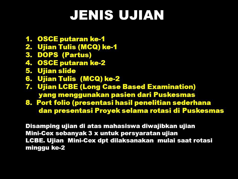 JENIS UJIAN OSCE putaran ke-1 Ujian Tulis (MCQ) ke-1 DOPS (Partus)