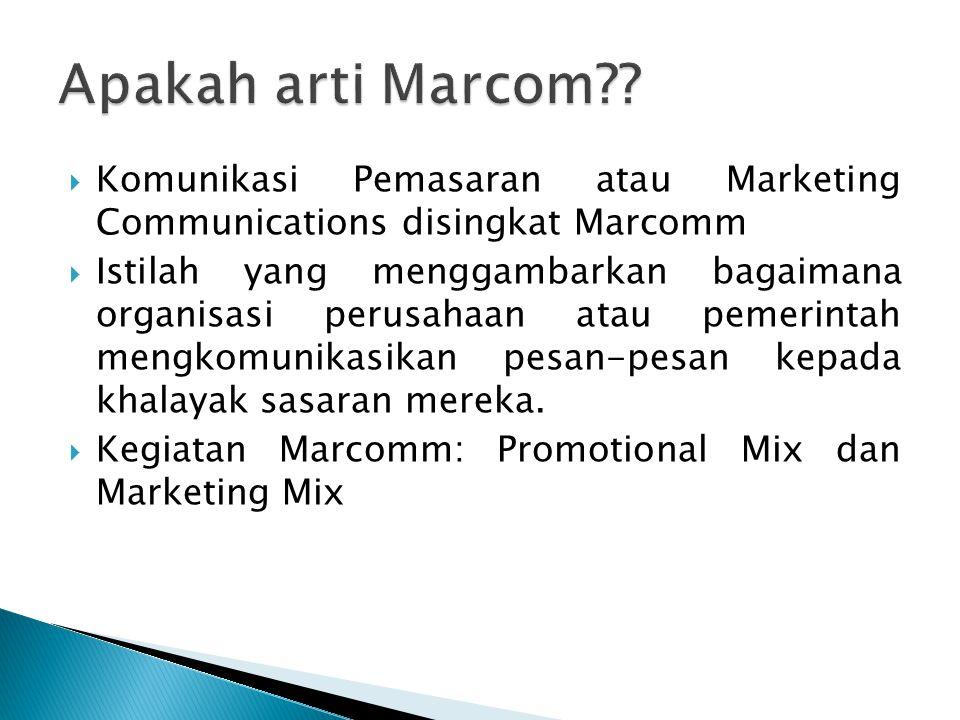 Apakah arti Marcom Komunikasi Pemasaran atau Marketing Communications disingkat Marcomm.