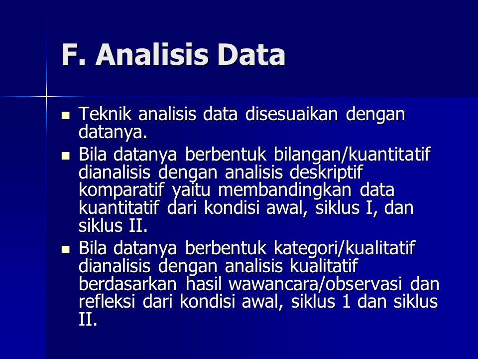 F. Analisis Data Teknik analisis data disesuaikan dengan datanya.