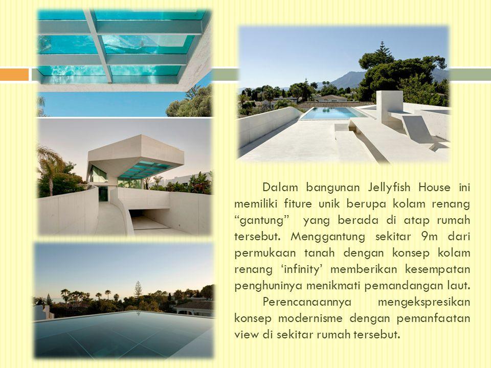 Dalam bangunan Jellyfish House ini memiliki fiture unik berupa kolam renang gantung yang berada di atap rumah tersebut.