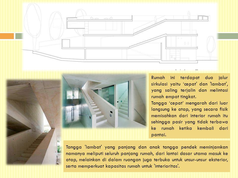 Rumah ini terdapat dua jalur sirkulasi yaitu 'cepat dan lambat , yang saling terjalin dan melintasi rumah empat tingkat.