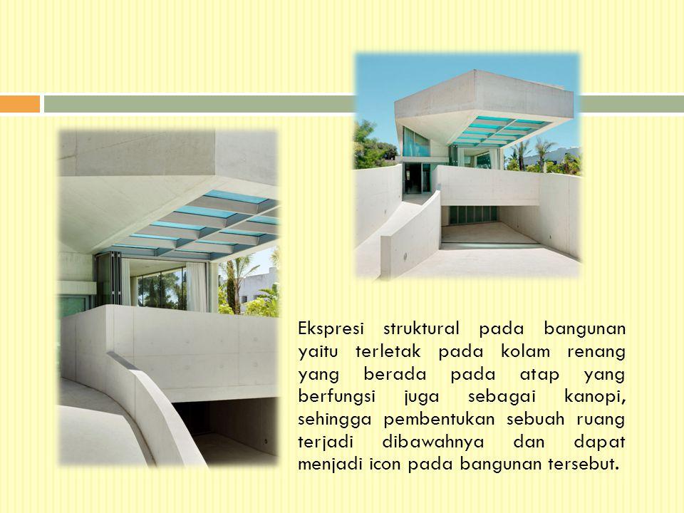 Ekspresi struktural pada bangunan yaitu terletak pada kolam renang yang berada pada atap yang berfungsi juga sebagai kanopi, sehingga pembentukan sebuah ruang terjadi dibawahnya dan dapat menjadi icon pada bangunan tersebut.