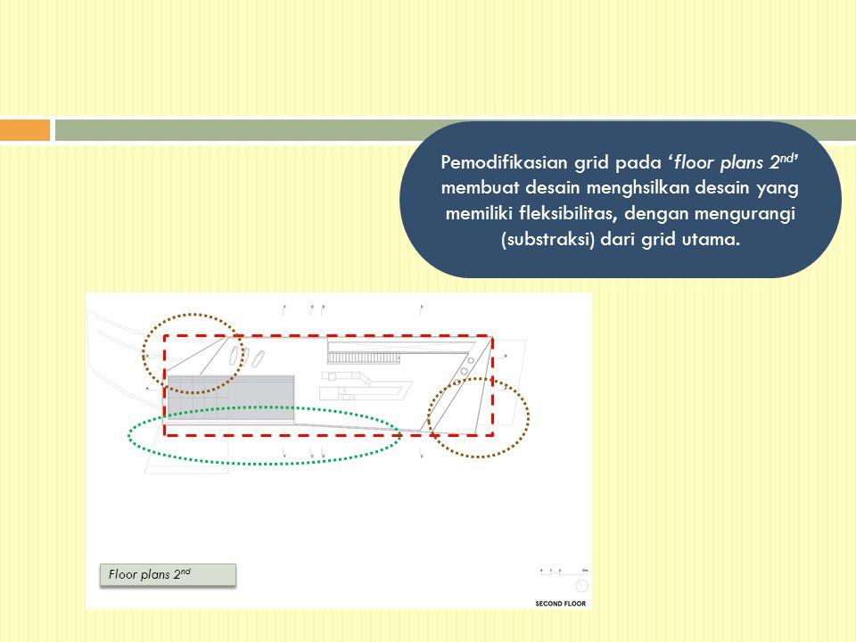 Pemodifikasian grid pada 'floor plans 2nd' membuat desain menghsilkan desain yang memiliki fleksibilitas, dengan mengurangi (substraksi) dari grid utama.