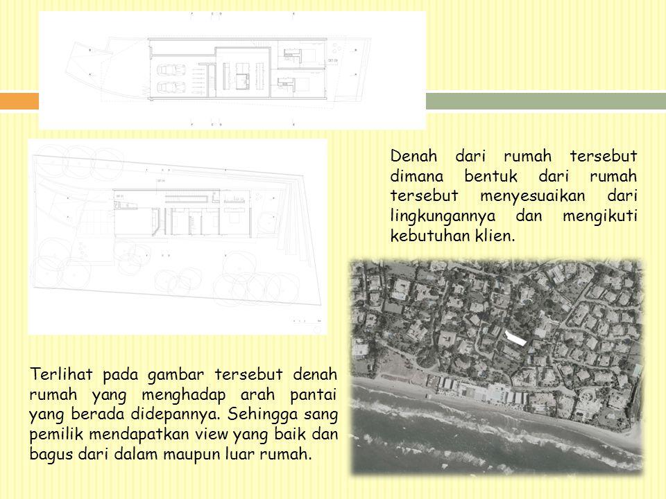Denah dari rumah tersebut dimana bentuk dari rumah tersebut menyesuaikan dari lingkungannya dan mengikuti kebutuhan klien.