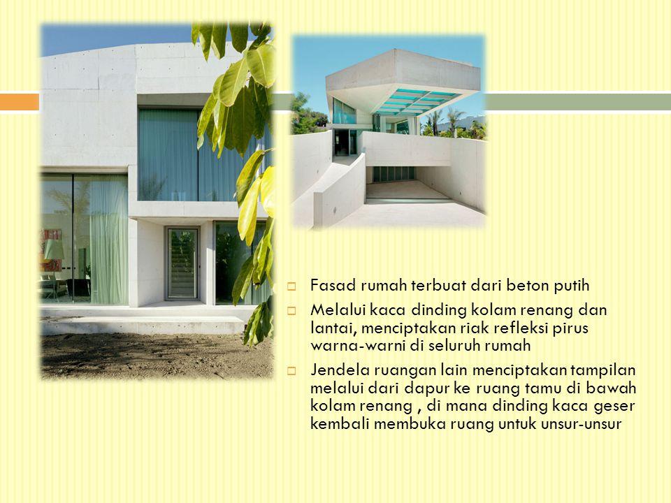 Fasad rumah terbuat dari beton putih