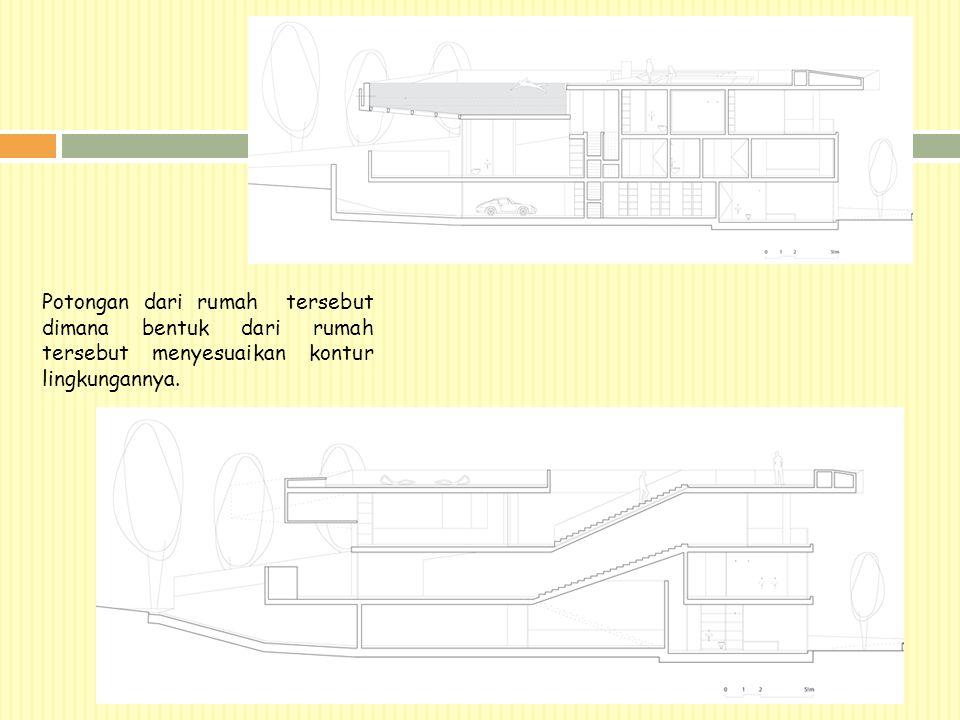 Potongan dari rumah tersebut dimana bentuk dari rumah tersebut menyesuaikan kontur lingkungannya.
