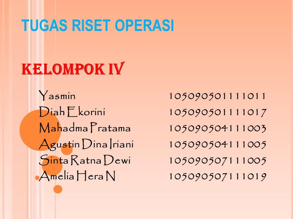 TUGAS RISET OPERASI Kelompok IV Yasmin 105090501111011