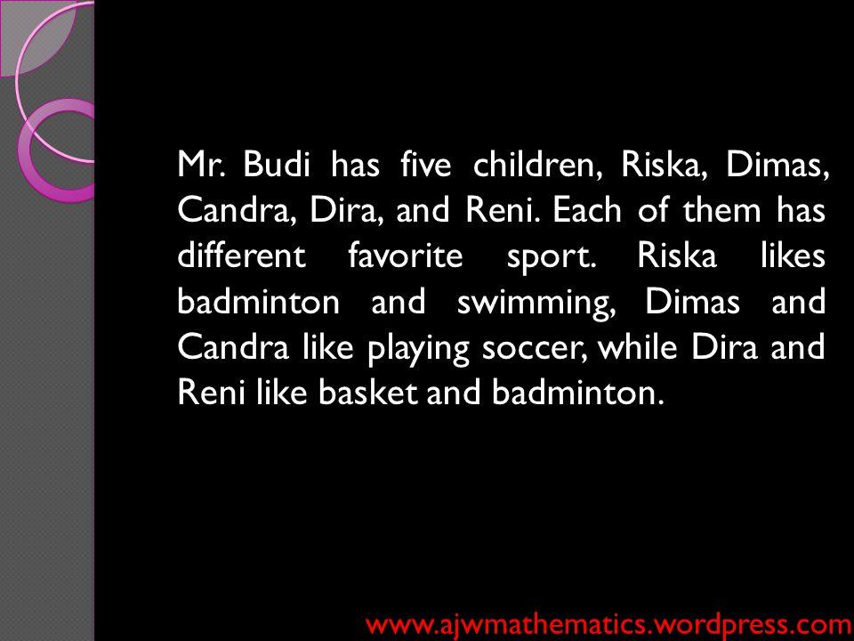 Mr. Budi has five children, Riska, Dimas, Candra, Dira, and Reni