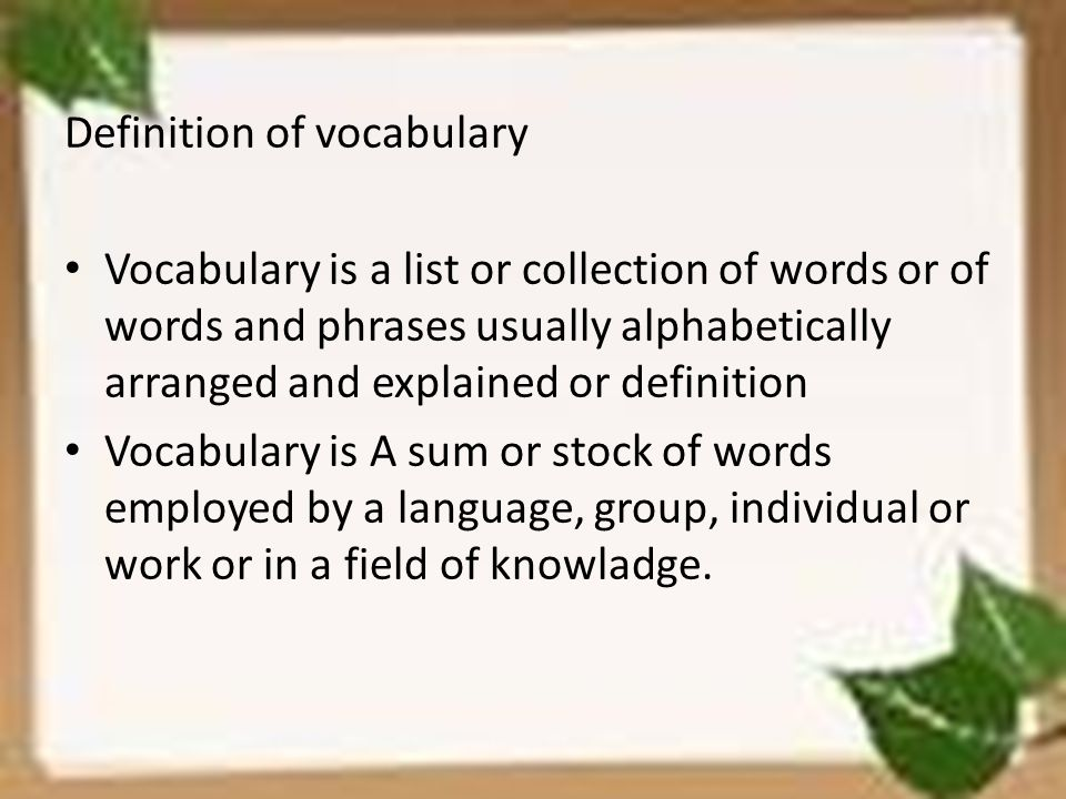 Definition of vocabulary