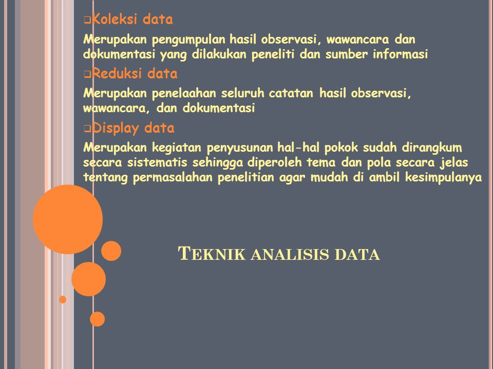 Teknik analisis data Koleksi data Reduksi data Display data